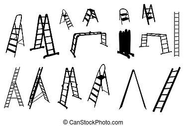 vektor, leiter, satz, illustration., silhouette.