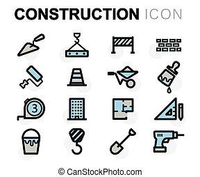 vektor, lejlighed, konstruktion sæt, iconerne