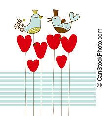 vektor, lieben vögel, abbildung