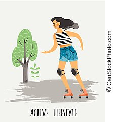 vektor, lifestyle., sunde, illustration, kvinde, skates., rulle