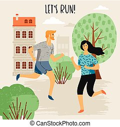 vektor, lifestyle., sunde, illustration, løb, kvinde, man.