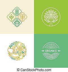 vektor, linear, logo, design, schablone, und, abzeichen