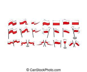 vektor, lobogó, fehér, ábra, állhatatos, háttér, lengyelország