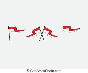 vektor, lobogó, fehér, ábra, indonéz, állhatatos, háttér