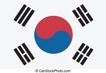 vektor, lobogó, korea, köztársaság, ábra