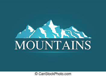 vektor, logo, av, alpin, mountains