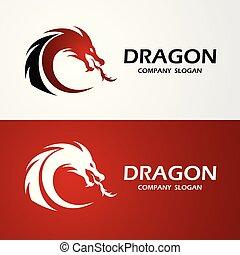 vektor, logo, feuerdrachen