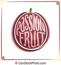 vektor, logo, frukt, passion