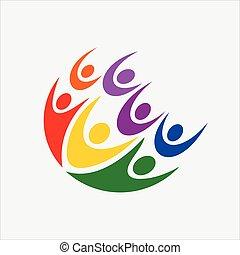 vektor, logo, gemeinschaftsarbeit