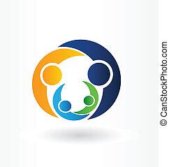 vektor, logo, grafik, familie, omsorg