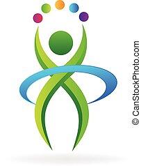 vektor, logo, ikone, fitness, person