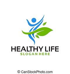 vektor, logo, liv, sunde