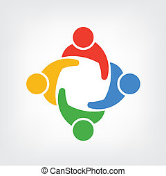 vektor, logo, menschengruppe