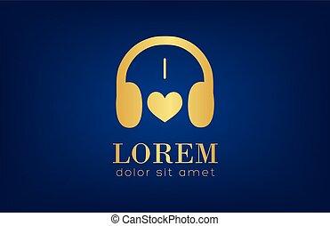 vektor, -, logo, musik, hörlurar, kärlek
