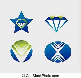 vektor, logo, sæt formgiv, elementer