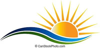 vektor, logo, solsken, illutration, vågor