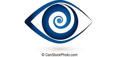 vektor, logo, swirly, fönsterlucka, ikon, ögon