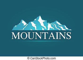 vektor, logo, von, alpin, berge