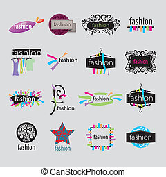 vektor, logos, mode, accessoirs, sammlung