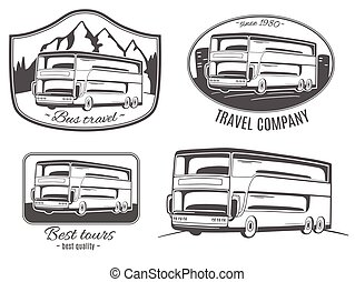 vektor, logos, satz, bus., tourist