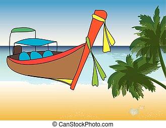 vektor, longtale, karikatúra, ábra, csónakázik