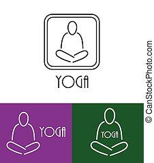 vektor, lotos, joga, symbol