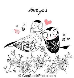 vektor love owls