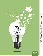 vektor, lys, plante, begreb, gemme