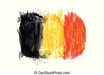 vektor, måla, färgrik, grunge, flagga, texture., belgien, smears, gjord, splashes.