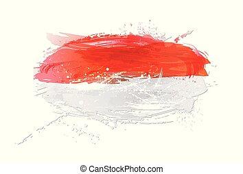 vektor, måla, färgrik, grunge, flagga, texture., smears, gjord, indonesien, splashes.