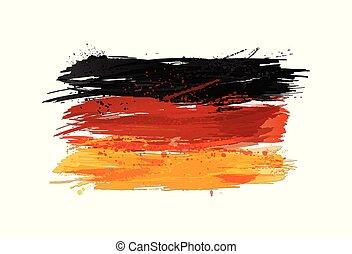 vektor, måla, färgrik, grunge, flagga, texture., smears, gjord, tyskland, splashes.