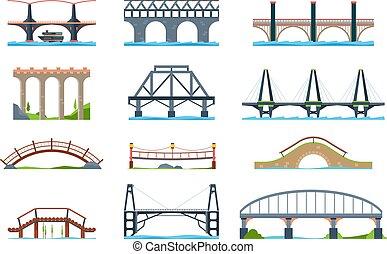 vektor, mód, bridges., vas, bridzs, oszlop, modern, kifogásol, fából való, aqueduc, építészeti, lakás