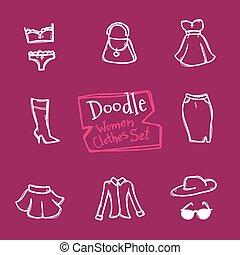vektor, mód, mód, ikonok, szórakozottan firkálgat, set., gyűjtés, kéz, kifogásol, húzott, öltözék, nők