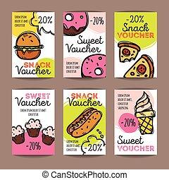 vektor, móda, snack, barvitý, nabídnout, promo, klikyháky, desserts., hustě food, dát, stvrzenka, rabat, templates., kupón, karta.