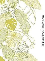 vektor, mönster, bladen, seamless, illustration, träd., palm