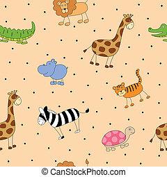 vektor, mönster, med, tecknad film, djuren
