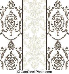 vektor, mönster, sätta, prydnad, damast
