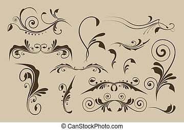 vektor, mönster, set formge