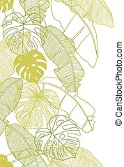 vektor, mønster, blade, seamless, illustration, træ., håndflade