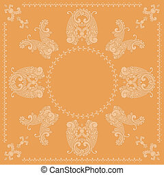 vektor, mønster, paisley, firkantet, appelsin