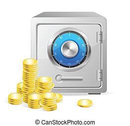 vektor, mønter., pengeskab, guld