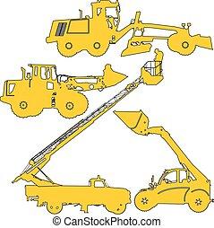 vektor, machinery., konstruktion sätt, silhouettes, illustration