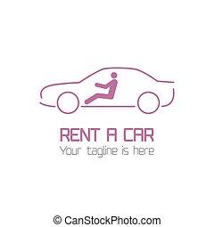 vektor, mall, av, bil hyra, logo