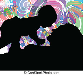 vektor, mamma, son., illustration, &