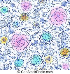 vektor, marine, und, pastelle, frühjahrsblumen, seamless, wiederholung, muster, bacgkround, design., groß, für, frühling, gruß- karten, einladungen, wedding, stoff, tapete, verpackung, projects.