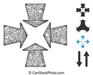 vektor, maska, nät, pilar, illustration, krympa