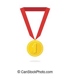 vektor, medalj, illustration, guld