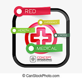 vektor, medizinprodukt, kreuz, infographic, begriff