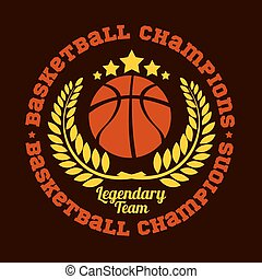 vektor, meisterschaft, emblem, -, t-shirt, basketball
