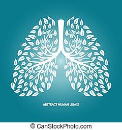 vektor, menschliche , lungen, hintergrund, abstrakt, laub